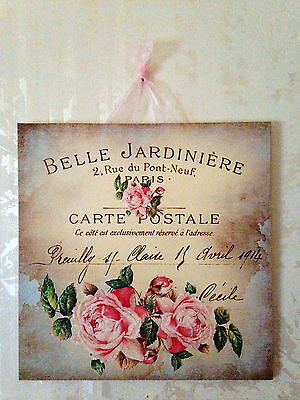 Select Paris Shabby Roses Postcard Plaque Wall Decor Sign French Country Chic