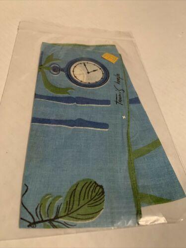 Vintage Tammis Keefe Blue Pocket Watch Ladies Fashion Pure Linen Handkerchief