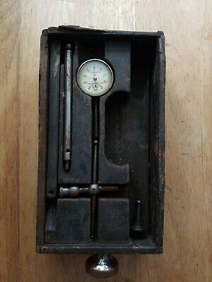 Starrett No. 196 Dial Indicator With Custom Drawer And Attachments - Vintage