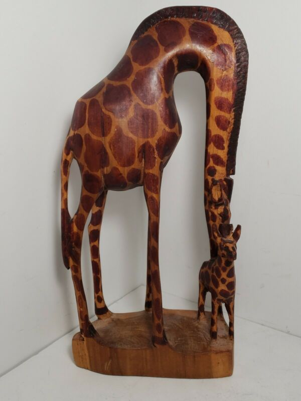 HAND CARVED MOTHER GIRAFFE AND BABY WOODEN FIGURINE