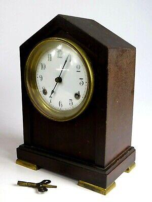 Antique Waterbury Clock NEBRASKA Shelf Mantle Clock Working Key Enamel Face
