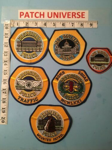 VINTAGE LOT OF 6 DIFFERENT DES MOINES IOWA  SHOULDER  PATCHES  I142