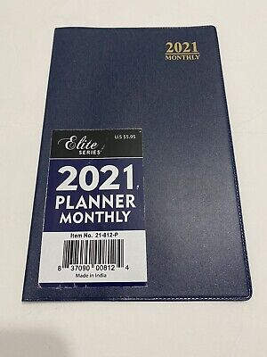 2021 Elite Monthly Planner Calendar Appointment Book Agenda 5x8 Blue.