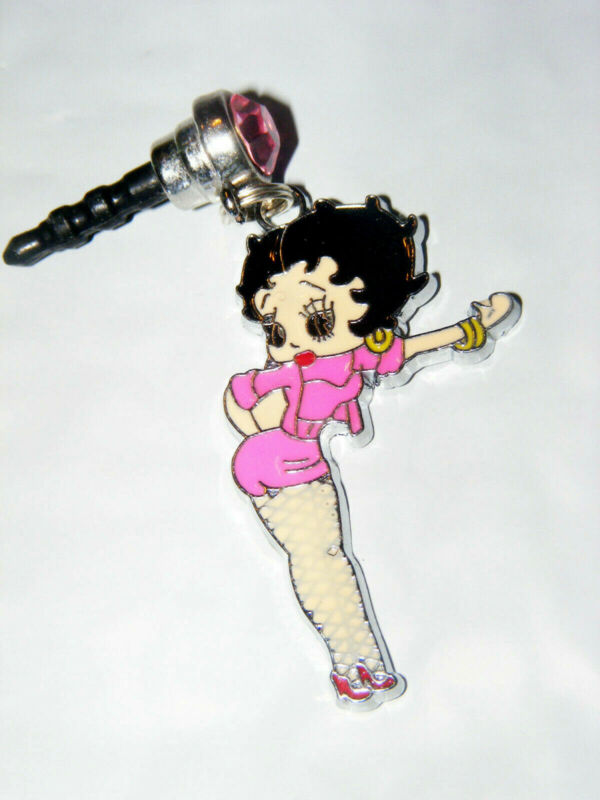 Betty Boop Pink short fish net stockings cell phone dust plug