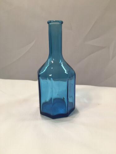 "Wheaton Glass 5 3/4"" Blue Glass Octagonal Bottle"