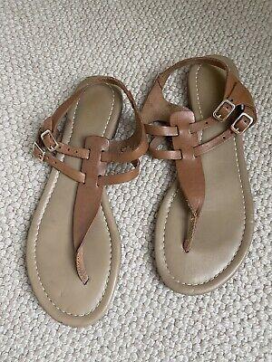 Tan Toe Thong Flat Sandals Size Uk 8 From Zalando