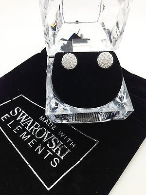 New 8mm Swarovski Element Round Crystal Pave Disco Ball Sterling Silver 925 Stem