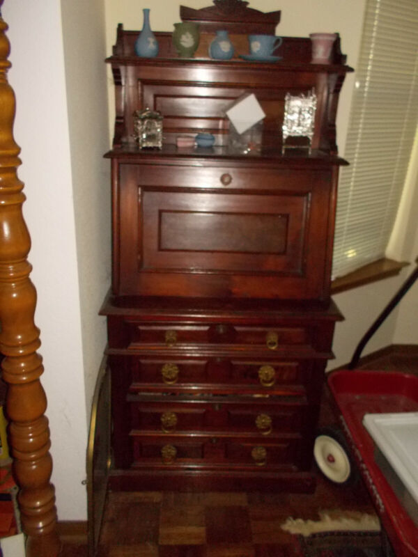 Antique Eastlake Desk Petite 29 inches wide. Circa 1890 Mahogany