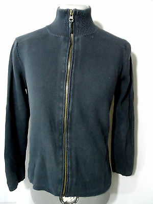 EDDIE BAUER Cardigan Sweater womens S/M Blue Zip up Mock neck Ribbed LS Sporty