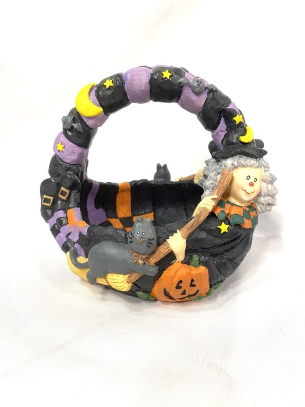 halloween witch black cat ceramic home decor candy bowl basket