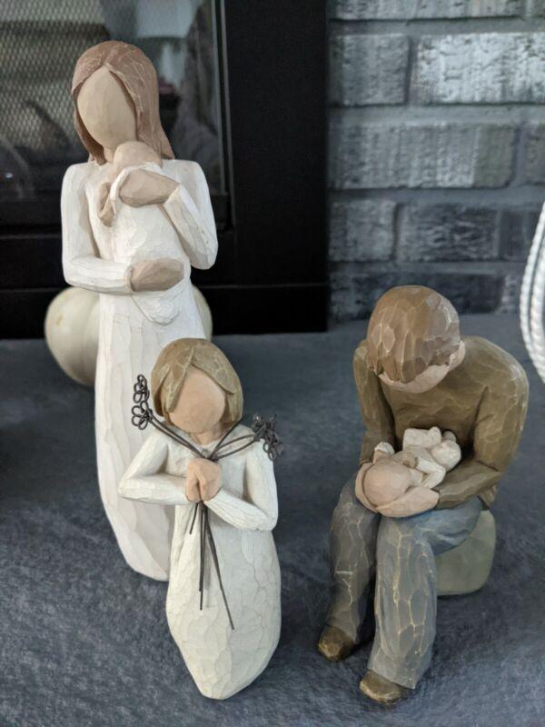 3 Willow Tree Angel Figurines: New Dad, Angel of Mine Mom, Friendship