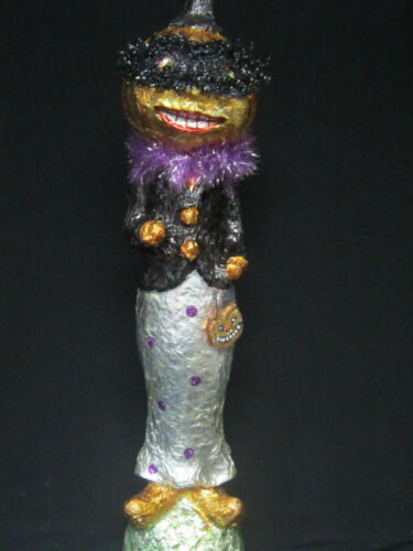 Fall Halloween Decoration Masquerade Party Fabric Mache Pumpkin Woman Figurine