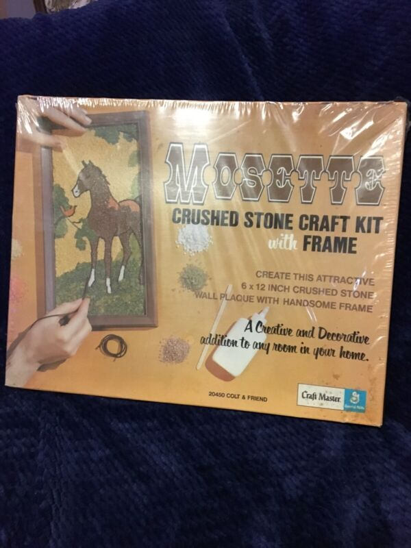 Vintage 1971 Mosette Crushed Stone Mosaic Kit By Craft Master USA Colt & Friend