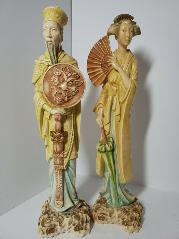 Vintage Norleans Hand Made Italy Oriental Tall Figurines Man & Women Resin