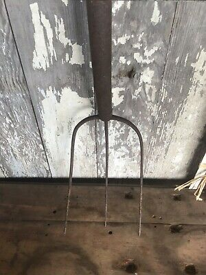 Antique Three Prong Hay Fork Rustic Country Primitive Cut Wood Handle