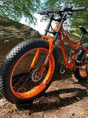 Mountain Bike Fat Tyre Bicycle Full Suspension Orange Dual Crown Downhill Fork