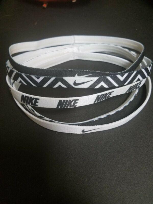 Set of 5 great thin multi pattern Nike headband lot ! White and Black Colors