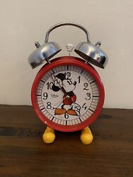 Vintage Disney Quartz Mickey Mouse Twin Bell Alarm ClockGREAT WORKING CONDITION