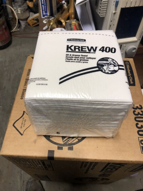 Shop Towels Krew 400 White Oil Grease Towels Case Of 12 Packs /56 Per Pack
