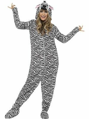 Zebra Costume Mens Womens Costume Adults Fancy Dress Outfit Animal Party - Mens Zebra Costume