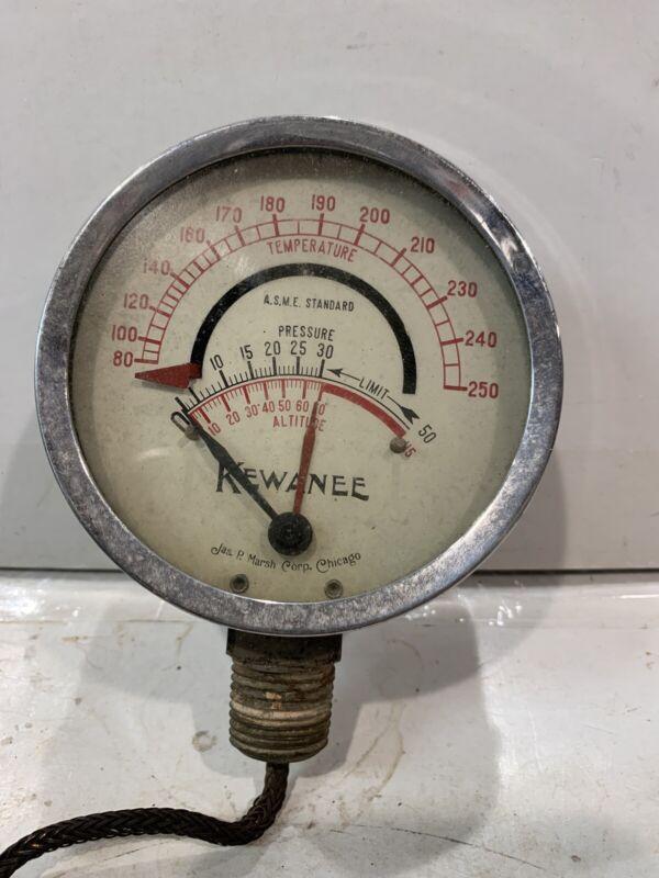 Used Vintage Jas JP Marsh Kewanee Steam Gauge Steampunk Industrial Rustic Boiler