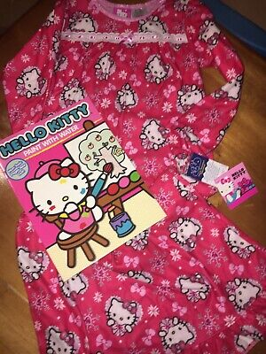 Hello Kitty Nightgown - Girls' Sz S 6 6x Hello Kitty Nightgown Paint Water Book Christmas Valentines Nwt
