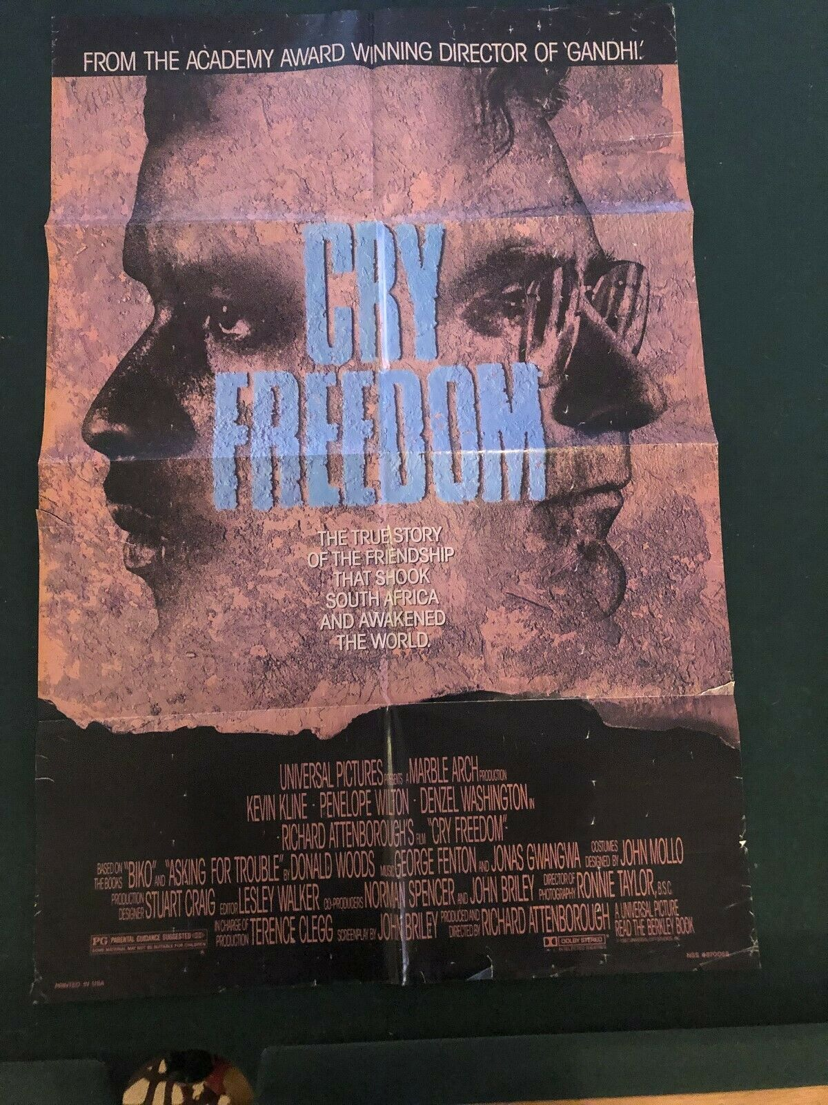 Cry Freedom Original Movie Poster 27x40 - $5.00
