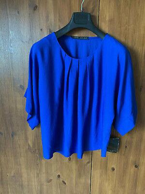 ZARA BLOUSE TOP Cobalt Blue T-Shirt Loose Fit XS M / UK 8 12 - NEW