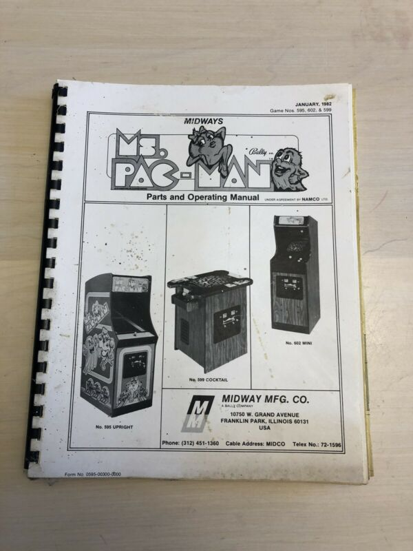 Ms. Pacman Video Arcade Game Service Manual, Good Condition!!