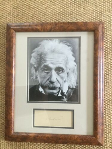 RARE Vintage Albert Einstein autograph and photo display