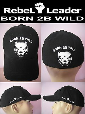 RebeL Leader BORN 2B WILD Kappe Baseball Cap Pitbull Terrier Hund NEU