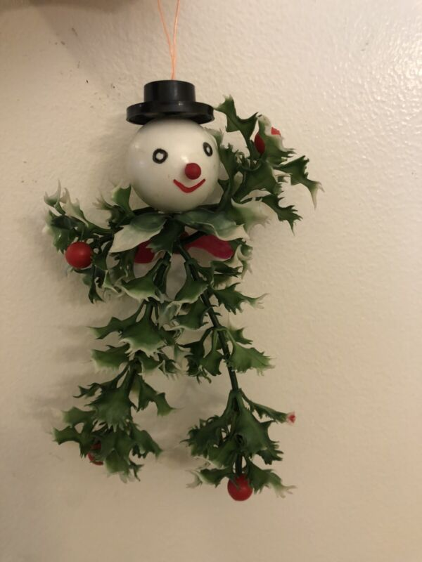 Vintage Unique Christmas Snowman with Top Hat Holly Ornament