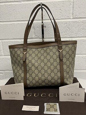 Womens Gucci GG Supreme Nice Tote Handbag Beige Brown Leather 336776 RRP £500