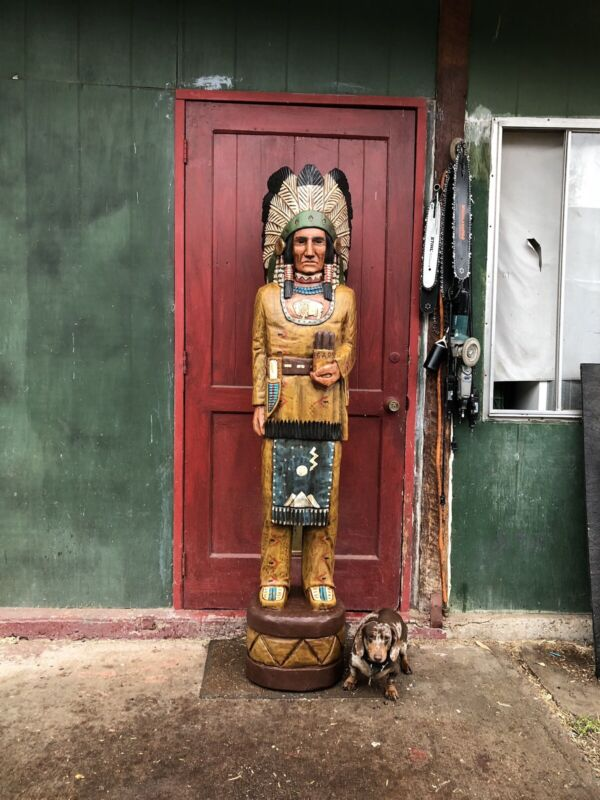 John Gallagher Carved Wooden Cigar Store Indian 6 ft. Statue White Buffalo Knife