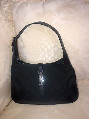 Authentic Vintage Gucci Black Jackie O Small GG Canvas And Leather Hobo Handbag
