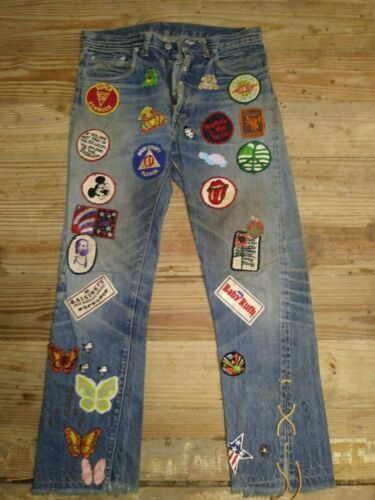 Vintage LEVI Jeans Woodstock era Loaded with Patches from the 1960