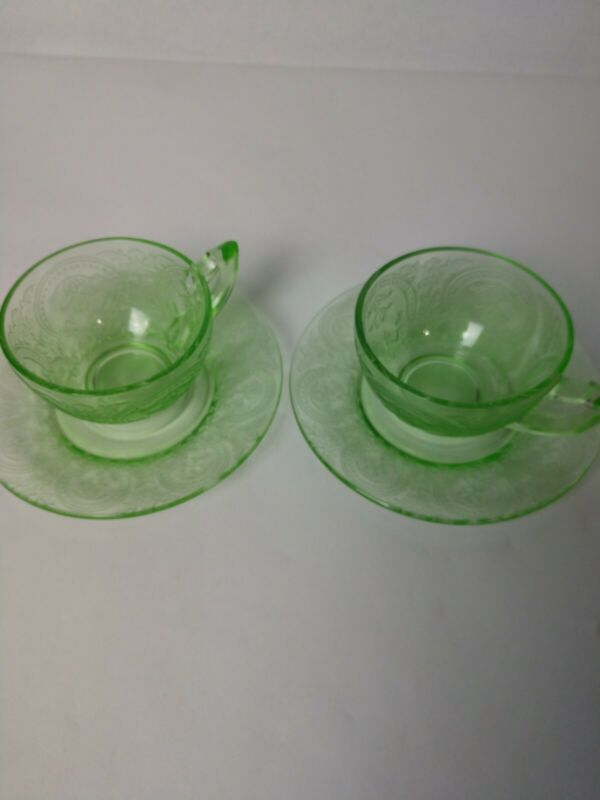 Depression Glass Indiana Glass Company Cup And Saucer Set  Horseshoe Pattern