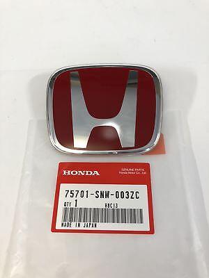 HONDA 75701-SNW-003ZC Rear Emblems Badges Red Honda H For Civic