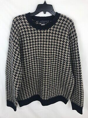 Tommy Hilfiger Mens Sweater Beige Blue Houndstooth Sz XL 100% Wool Elbow Patches