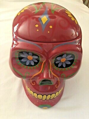 Day of the Dead LARGE red Skull Cookie Jar Ceramic
