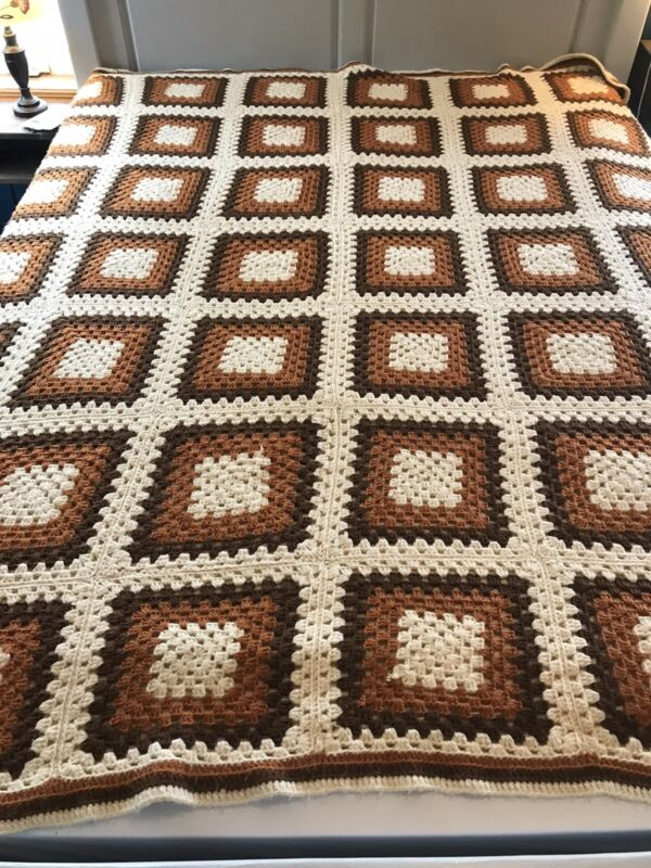 Vintage Handmade Afghan Granny Squares Autumn Colors Brown Orange White 85X96""
