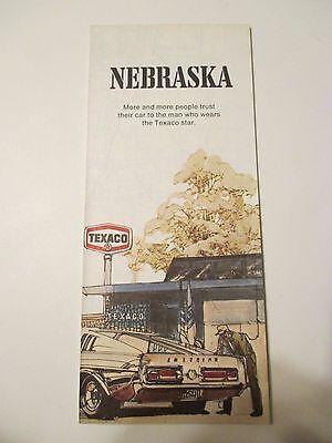 Vintage 1972 TEXACO NEBRASKA Oil Gas Service Station Road Map