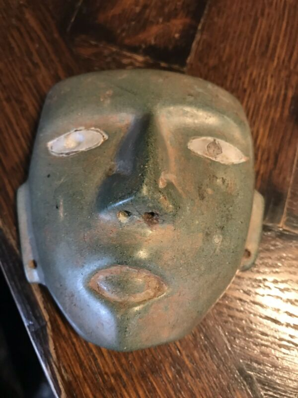 Ancient Hand Carved TEOTIHUACAN Maya Inca greenstone MASKETTE burial mask