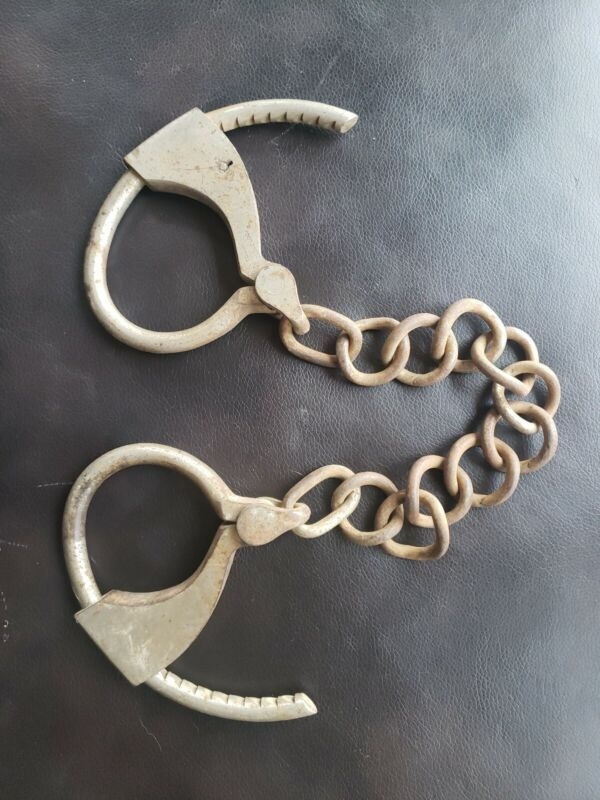 "TOWERS ADJUSTABLE DOUBLE LOCK HAND LEG CUFFS IRON 12"" CHAIN LINK ANTIQUE HEAVY"
