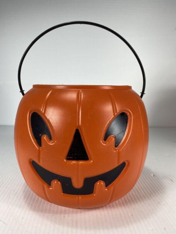 Vtg Halloween Jack o lantern Pumpkin Bucket Blow Mold AmericanMaid MADE IN USA