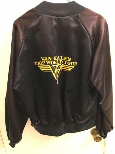 Vintage 1982 VAN HALEN WORLD TOUR Satin Jacket EVH XLG Rock Heavy Metal USA Exc