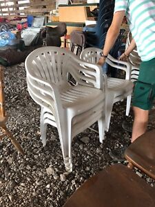 10 white patio chairs