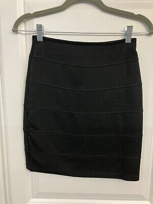 Womens Stretchy Black Skirt Medium