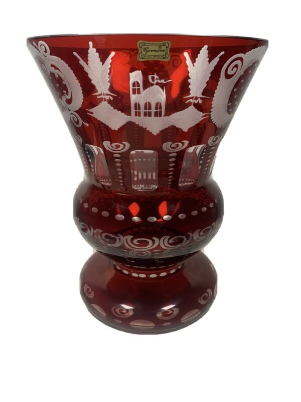 Egermann Bohemian large Cut Clear Amber Crystal Vase Czech Republic, vintage
