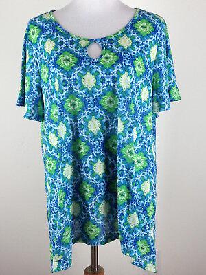Kim Rogers Belk S S Lightweight Sharkbite Knit Top W Keyhole   2X  Blue Green
